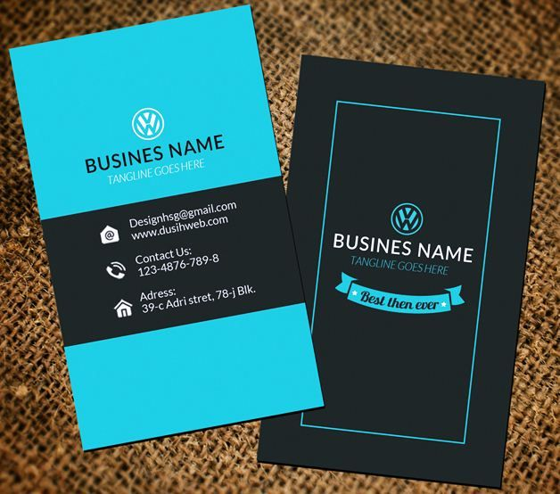 Engineer business cardblue vertical business card design for Vertical business card design
