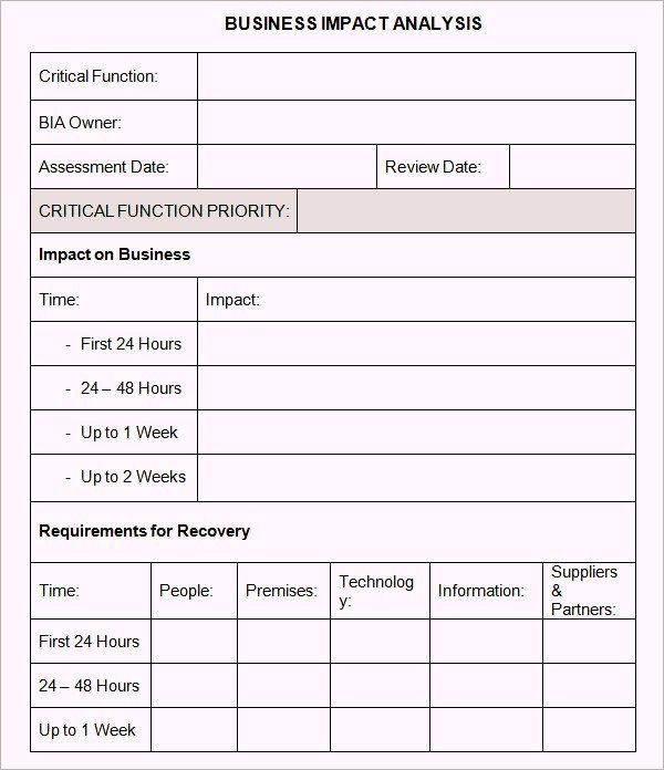 Free Business Impact Analysis Template  Emetonlineblog