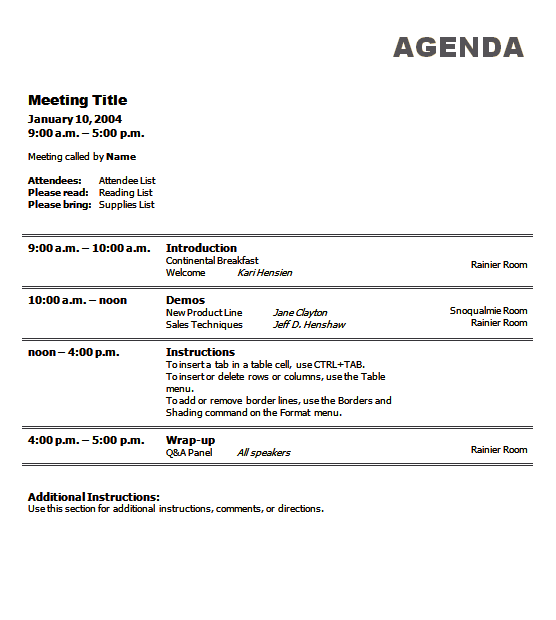 Sample business meeting agenda template emetonlineblog sample business meeting agenda template flashek