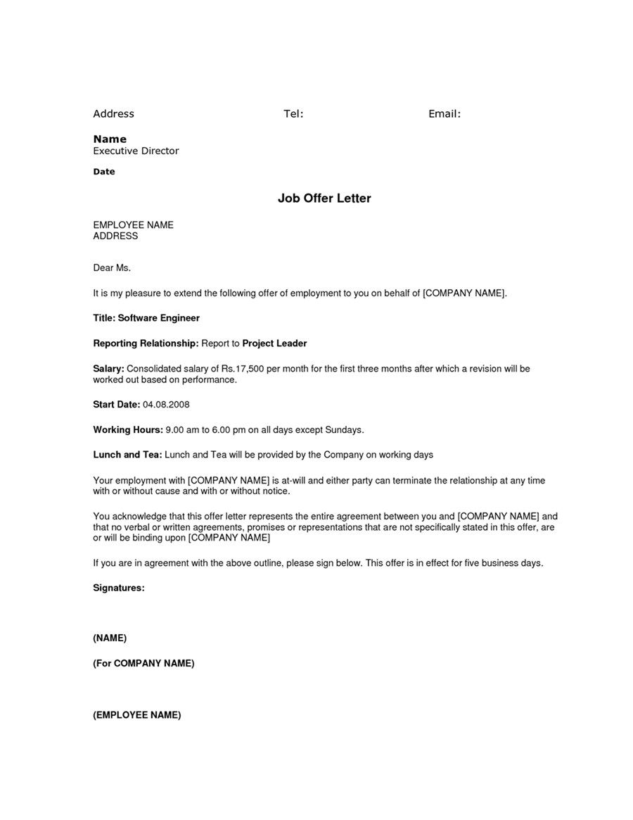 simple job offer letter sample template