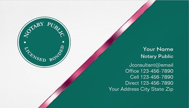 Notary Public Business Cards Templates